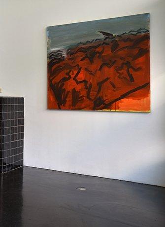 Simon Carter, Burnt Gorse 2011 120x130cm. Exhibition at SEA Foundation