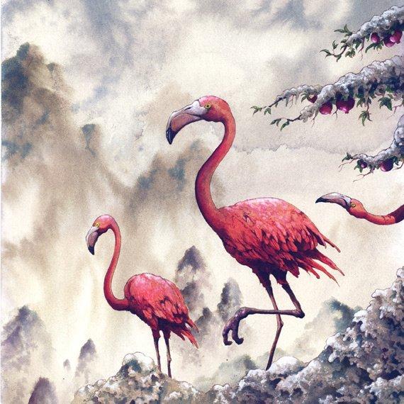 Flamingos, watercolor-inks-gouache, Arik Roper, 2013