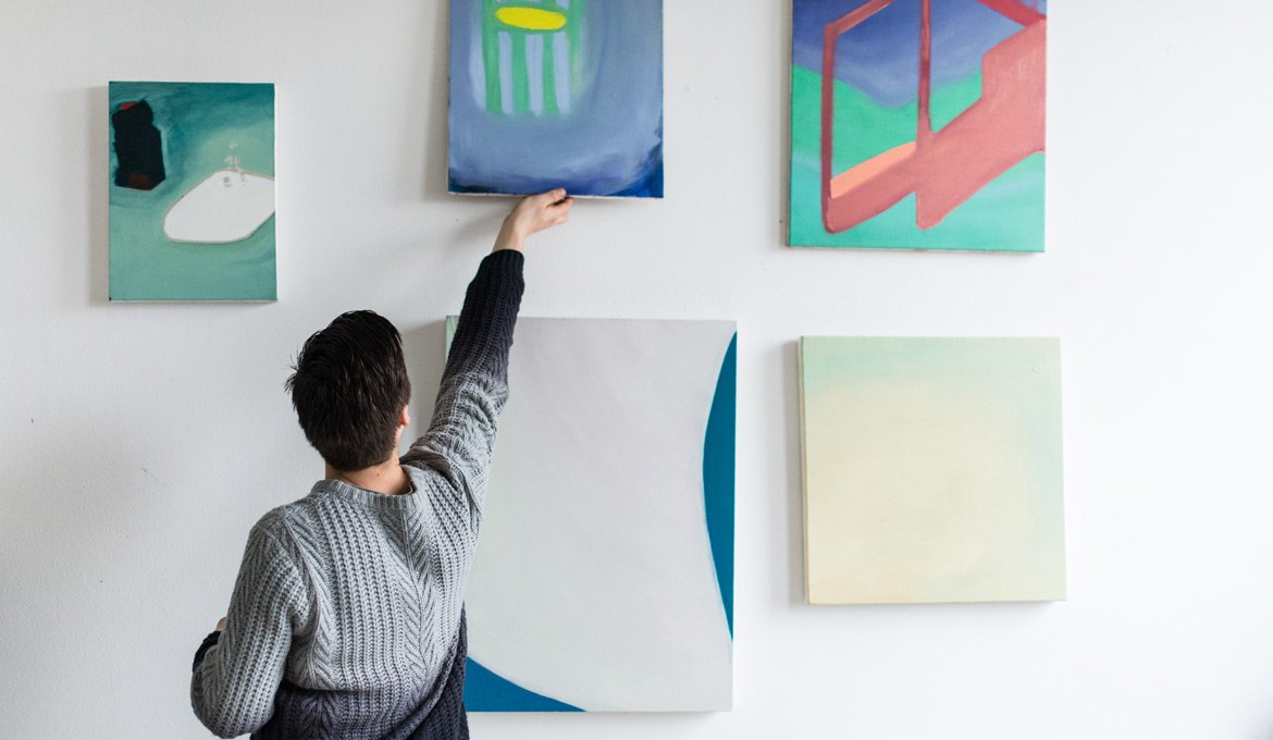 Steye with works on the wall, 2015