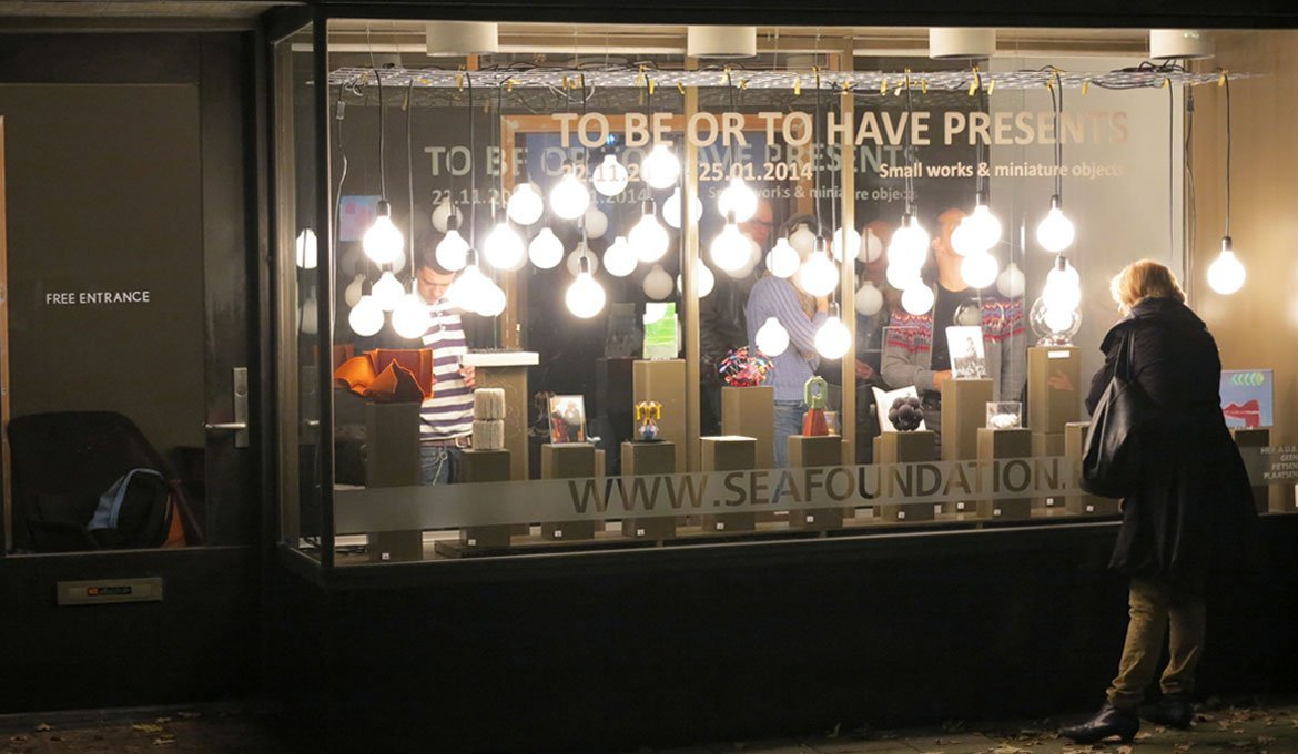 Exhibition To Be Or To Have Presents Miniatures at SEA Foundation, Tilburg, the Netherlands. Window view.