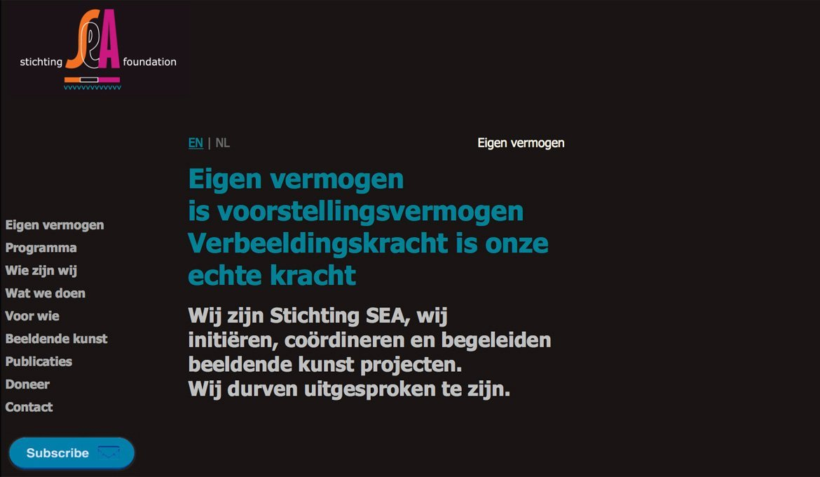 SEA Foundation's first website. SEA Foundation, Tilburg, the Netherlands