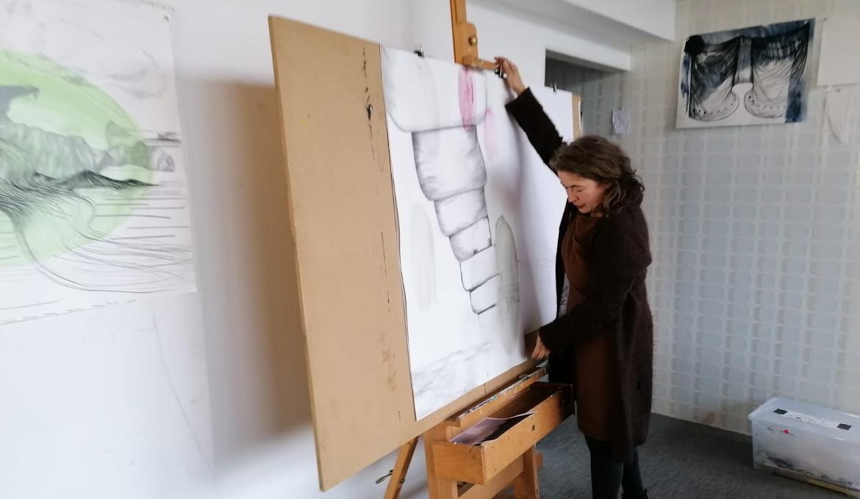 Artist Danielle Lemaire in her studio